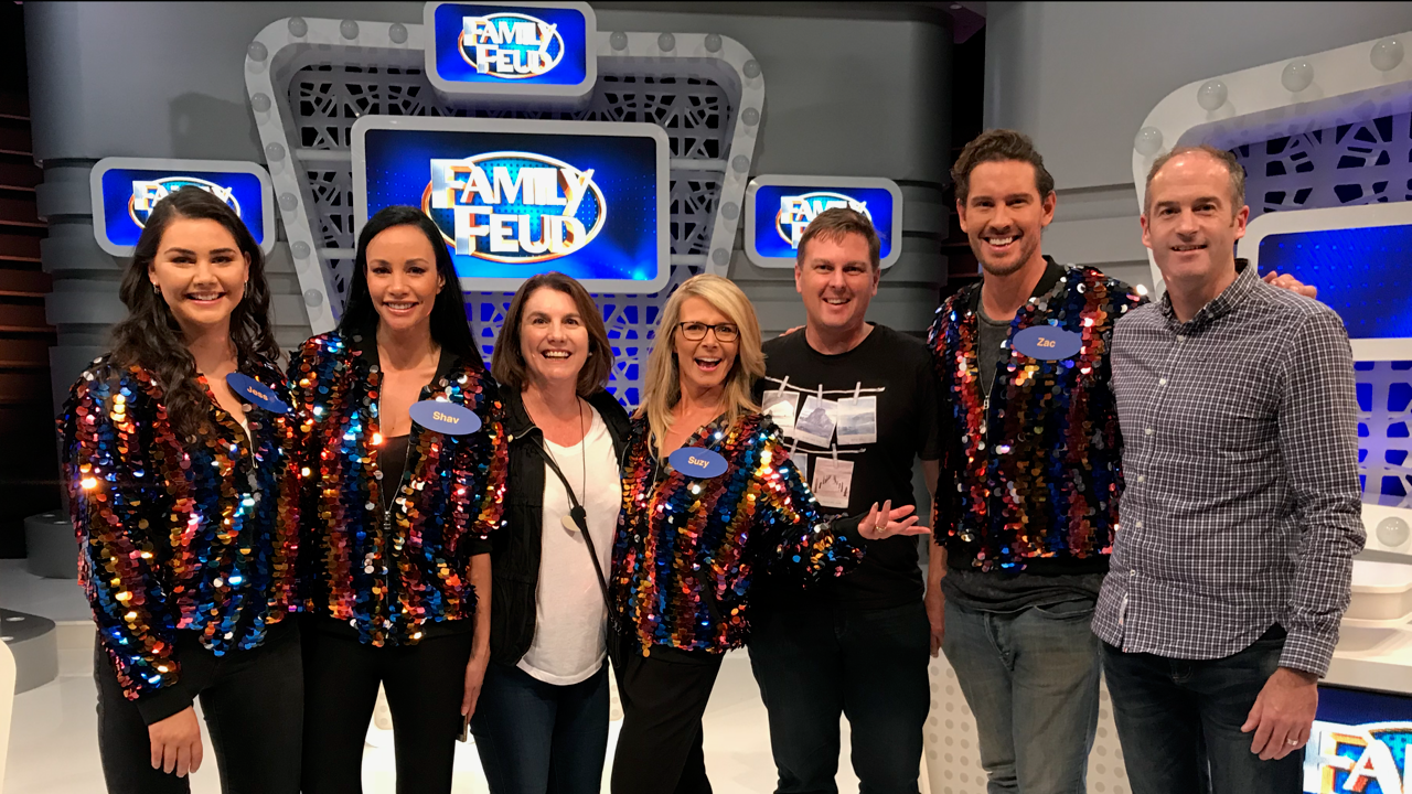 Anthea Kelly and Niall with the stars at Family Feud April 2018