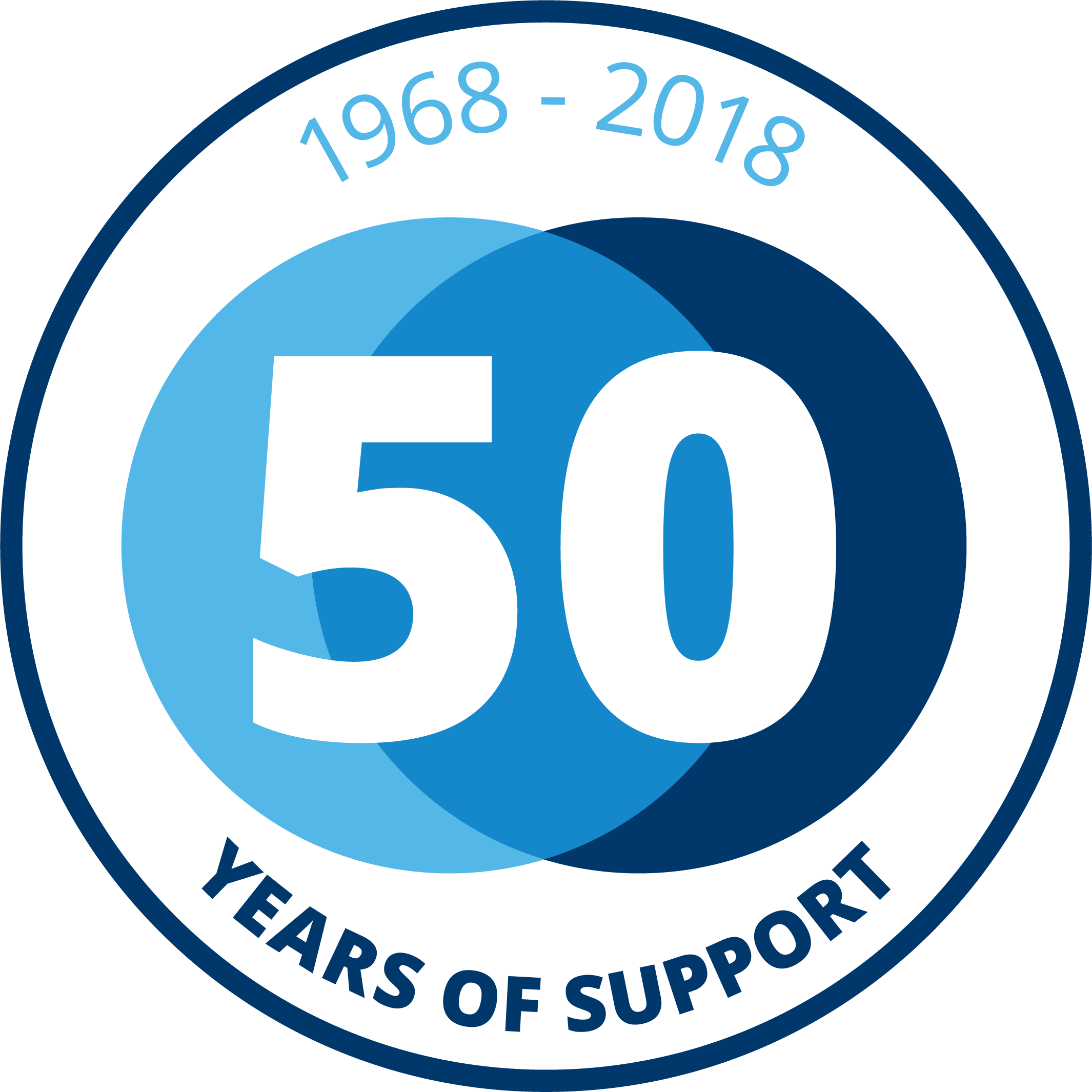 1 0 Large 50 years Badge Blue RGB