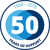 1 0 Small 50 years Badge Blue RGB